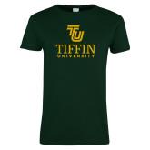 Ladies Dark Green T Shirt-TU Tiffin University Vertical