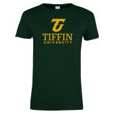 Ladies Dark Green T Shirt-Athletic TU Tiffin University Vertical