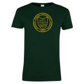 Ladies Dark Green T Shirt-University Seal