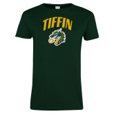 Ladies Dark Green T Shirt-Tiffin Arched over Dragon Head