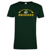 Ladies Dark Green T Shirt-Dragons Football