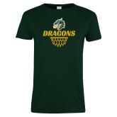 Ladies Dark Green T Shirt-Dragons Basketball