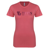 Next Level Ladies SoftStyle Junior Fitted Pink Tee-TU with Tiffin Universrity Horizontal Foil