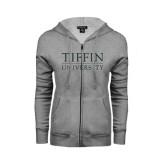 ENZA Ladies Grey Fleece Full Zip Hoodie-Tiffin University