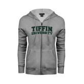 ENZA Ladies Grey Fleece Full Zip Hoodie-Tiffin University Arched and Stacked