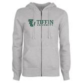 ENZA Ladies Grey Fleece Full Zip Hoodie-TU with Tiffin Universrity Horizontal