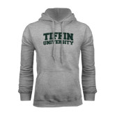 Grey Fleece Hoodie-Tiffin University Arched and Stacked