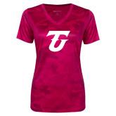 Ladies Pink Raspberry Camohex Performance Tee-Athletic TU