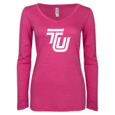 ENZA Ladies Hot Pink Long Sleeve V Neck Tee-University TU