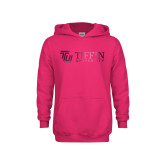 Youth Raspberry Fleece Hoodie-TU with Tiffin Universrity Horizontal Foil