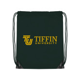 Dark Green Drawstring Backpack-TU with Tiffin Universrity Horizontal