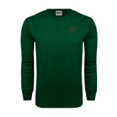 Dark Green Long Sleeve T Shirt-Primary Logo