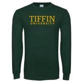 Dark Green Long Sleeve T Shirt-Tiffin University