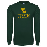 Dark Green Long Sleeve T Shirt-TU Tiffin University Vertical