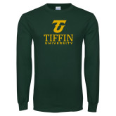 Dark Green Long Sleeve T Shirt-Athletic TU Tiffin University Vertical