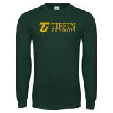 Dark Green Long Sleeve T Shirt-Athletic TU Tiffin University Horizontal