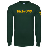Dark Green Long Sleeve T Shirt-Dragons Wordmark