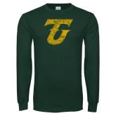 Dark Green Long Sleeve T Shirt-Athletic TU Distressed