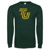 Dark Green Long Sleeve T Shirt-TU Distressed