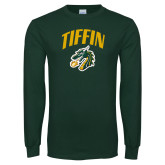 Dark Green Long Sleeve T Shirt-Tiffin Arched over Dragon Head