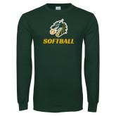 Dark Green Long Sleeve T Shirt-Softball