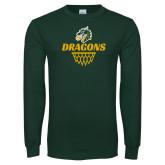 Dark Green Long Sleeve T Shirt-Dragons Basketball