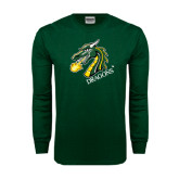 Dark Green Long Sleeve T Shirt-Dragon with Text