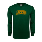 Dark Green Long Sleeve T Shirt-Tiffin University Arched and Stacked