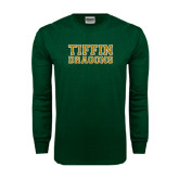 Dark Green Long Sleeve T Shirt-Tiffin Dragons with Stroke