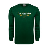 Dark Green Long Sleeve T Shirt-Football with Wings