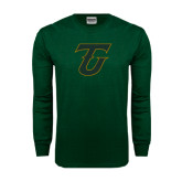 Dark Green Long Sleeve T Shirt-Primary Logo Distressed