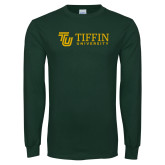 Dark Green Long Sleeve T Shirt-TU with Tiffin Universrity Horizontal