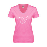 Next Level Ladies Junior Fit Deep V Pink Tee-Primary Logo