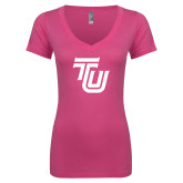 Next Level Ladies Junior Fit Ideal V Pink Tee-University TU
