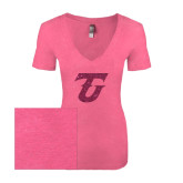 Next Level Ladies Vintage Pink Tri Blend V-Neck Tee-Primary Logo Hot Pink Glitter