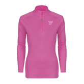 Ladies Syntrel Interlock Raspberry 1/4 Zip-Primary Logo