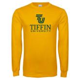 Gold Long Sleeve T Shirt-TU Tiffin University Vertical