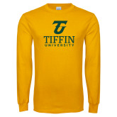 Gold Long Sleeve T Shirt-Athletic TU Tiffin University Vertical