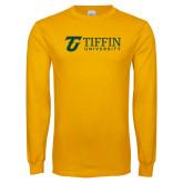 Gold Long Sleeve T Shirt-Athletic TU Tiffin University Horizontal