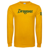 Gold Long Sleeve T Shirt-Dragons Wordmark