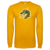 Gold Long Sleeve T Shirt-Dragon Head Distressed