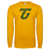 Gold Long Sleeve T Shirt-Athletic TU Distressed