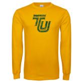 Gold Long Sleeve T Shirt-TU Distressed