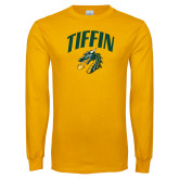 Gold Long Sleeve T Shirt-Tiffin Arched over Dragon Head
