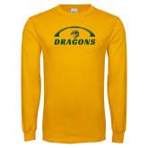 Gold Long Sleeve T Shirt-Dragons Football