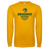 Gold Long Sleeve T Shirt-Dragons Basketball