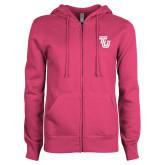 ENZA Ladies Fuchsia Fleece Full Zip Hoodie-University TU