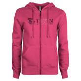 ENZA Ladies Fuchsia Fleece Full Zip Hoodie-TU with Tiffin Universrity Horizontal Foil