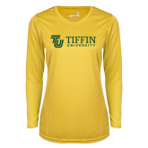Ladies Syntrel Performance Gold Longsleeve Shirt-TU with Tiffin Universrity Horizontal