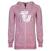 ENZA Ladies Hot Pink Marled Full Zip Hoodie-University TU